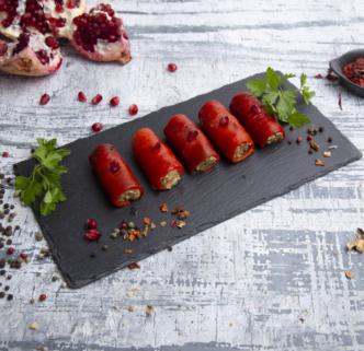 Рулетики из болгарского перца с ореховой начинкой