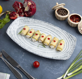 Рулетики из кабачков с сырной начинкой